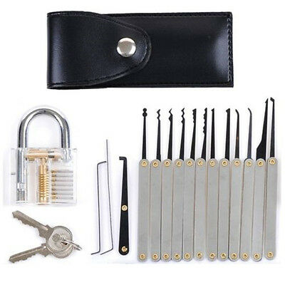 12Pcs l Lock Pick Tools Set Stainless Stee Transparent Training Padlock + Pouch