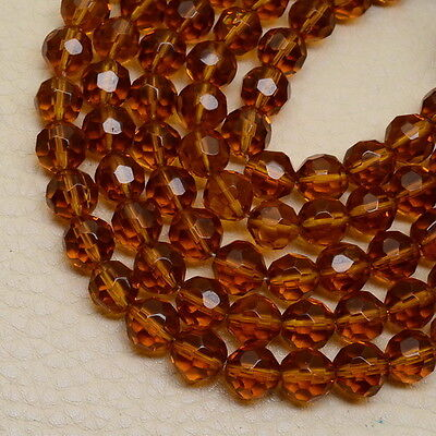 7Mm Orange Glass Faceted Round Beads Strand(1 Strand) 13 1/2""