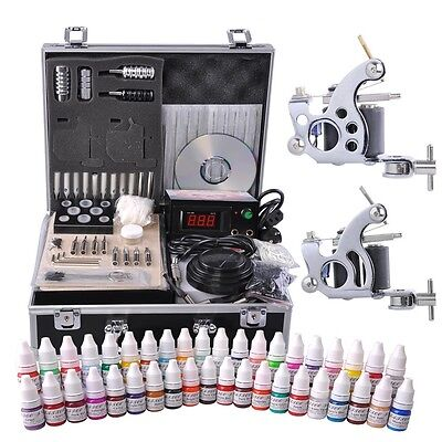 Complete Tattoo Kit w/ Case 40 Color Ink 2 Machine Guns Set LCD Power Supply