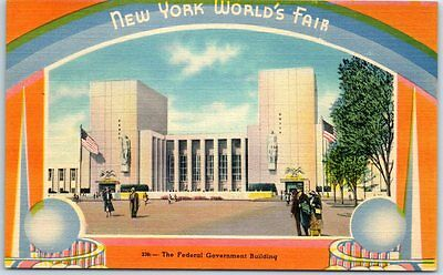 "1939 New York World's Fair Postcard ""Federal Government Building"" Linen Unused"