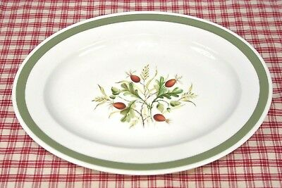 "Alfred Meakin Platter 12 1/2"" Glo-White  Berry and Acorn Center Green band Exc."