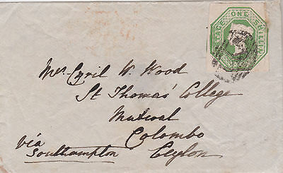 1852 QV GREAT BRITAIN RARE 1/- SHILLING GREEN COVER TO COLOMBO CEYLON cat £1350!