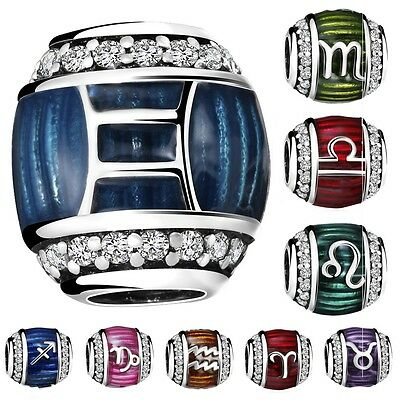 Fashion Constellations Charms Glass Bead Fit 925 Silver Sterling Bracelets Chain