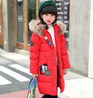 New School Girls Duck Down Parka Jacket Coat Real Fur Hooded Clothing Age 4-13