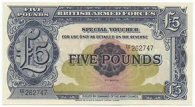 UK British Armed Forces 5 Pound Note 2nd Series (1948) - CIRC VF+