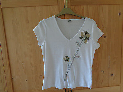 Ladies. White . V-Neck Short Sleeve Cotton T-Shirt Top . Size. 12