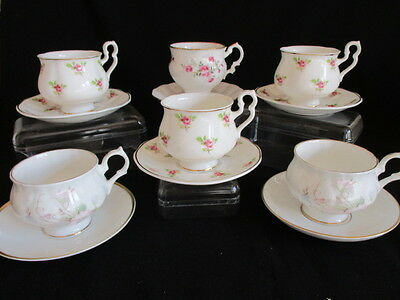 Vintage English  china mismatched Coffee cups & saucers x 6