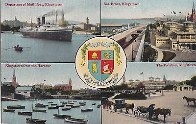 sa irish postcard ireland dublin kingstown dunlaoghaire