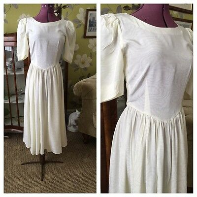 Vintage 80's Does 50's Cream Satin Prom Style Wedding Party Prom Dress Size 6-8