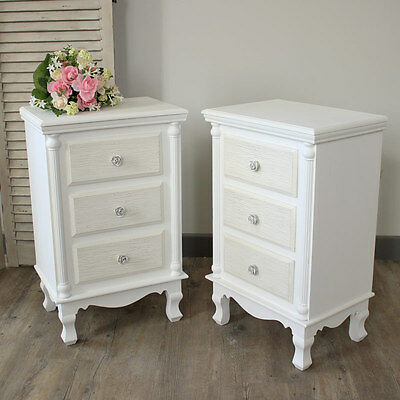 pair white set bedside table cabinet chest shabby vintage chic bedroom furniture