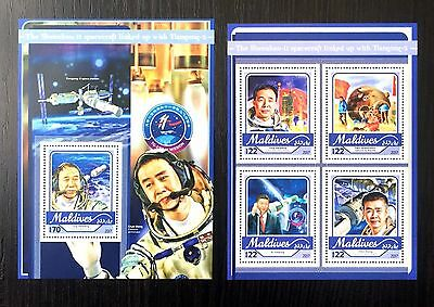 2 Maldives Sheet Perforated With Space And Taikonaut
