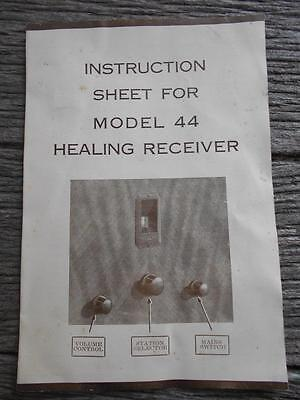 C1934 Instruction Model 44 Healing receiver brochure valves radio stations