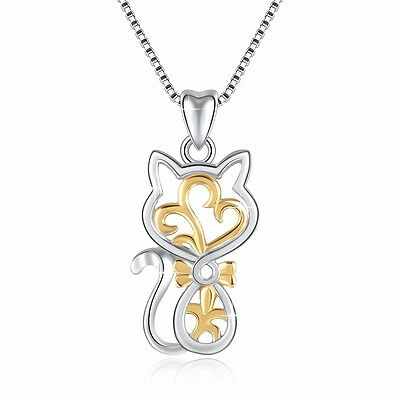 European Cat Dangle Silver Charms Pendant Women's Jewelry Fit Sterling Necklace
