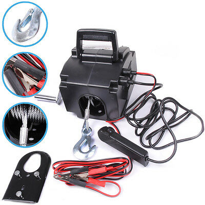 2000lb 900kg 12V CABLE BOAT CAR 4X4 TOW TRAILER RECOVERY ELECTRIC HAND WINCH