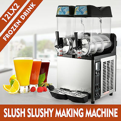 2 Tanks 24L Commercial Frozen Drink Slush Slushy Machine Ice Business Margarita