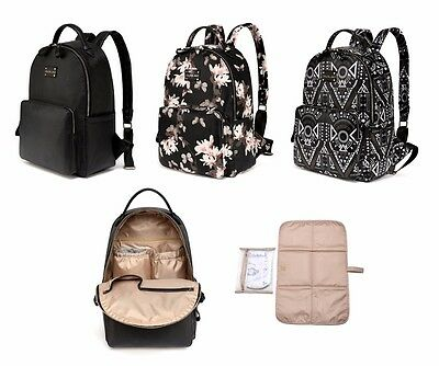 New Style Stylish PU Leather Baby Changing Diaper Nappy Bag Backpack Rucksack