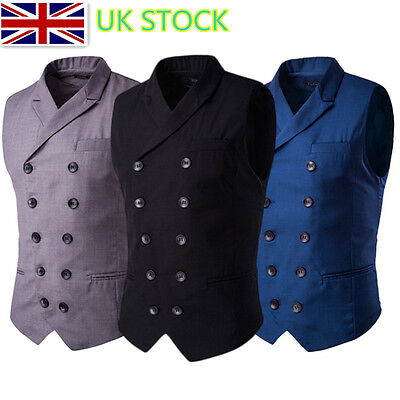 UK Men Boy Double Breasted Gilets Fitted Waistcoat Slim Suit Vest Jackets Blazer