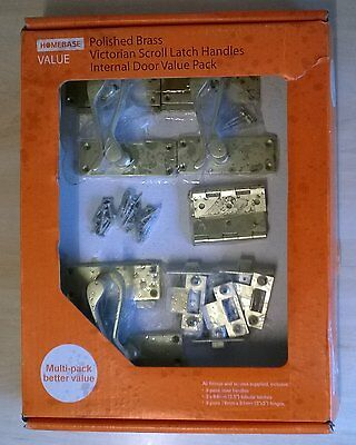 HOMEBASE Victorian Polished Brass Scroll Latch Handles & Hinges Value Pack