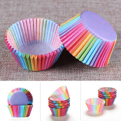 100pcs Rainbow Paper Cupcake Cases Cake Baking Muffin Dessert Wedding Party
