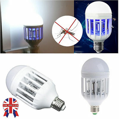 UK Anti-Mosquito Flying Insects Moths Killer LED Insect Zappers Light Bulb Lamp