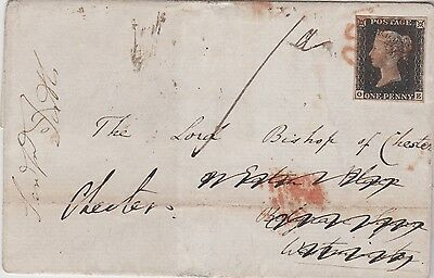 1840 QV GREAT BRITAIN SC#1 ULTRA 4 MARGIN PENNY BLACK PLATE 4 ON COVER Cat £750+