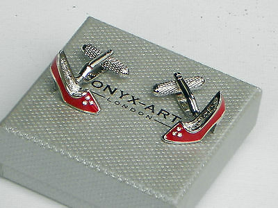 "Ladies CUFFLINKS GIFT-""RED SHOES WITH CRYSTALS"" silver style metal- in GIFT BOX"