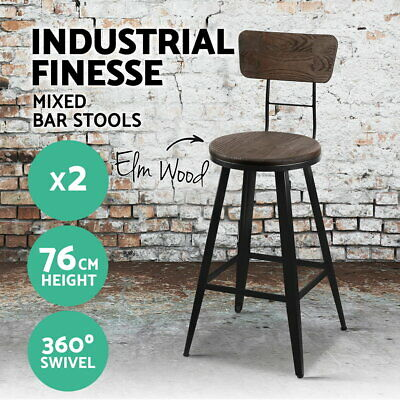 2X Vintage Rustic Bar Stool Retro Barstool Industrial Dining Chair Kitchen 76cm