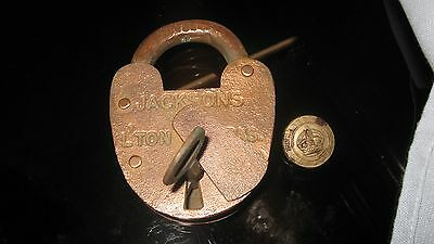 Vintage Queensland Rail Large Brass Lock & Key + Button