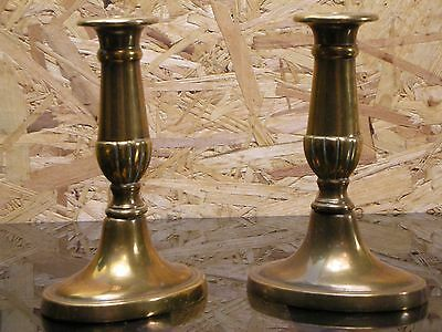 Vintage Pair of Brass Candlesticks - Nice unusual shaped base - 16cm Tall