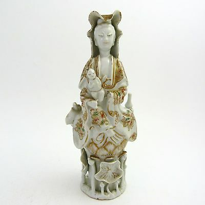 Chinese Decorated Blanc De Chinese Porcelain Figure Of Guanyin