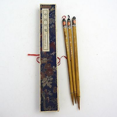 Set Of Four Chinese Calligraphy Brushes In Silk Box
