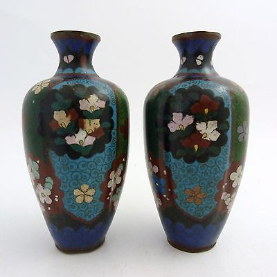 Pair Of Japanese Cloisonne Vases, Meiji Period