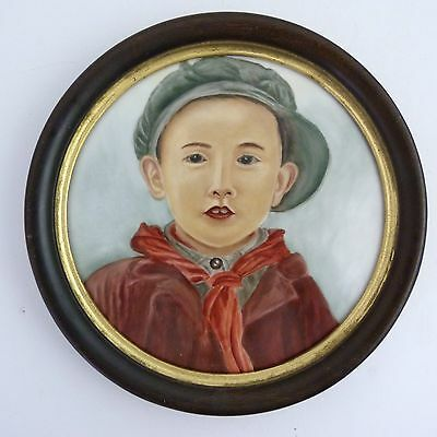 Early 20Th Century Framed Chinese Painting Of A Boy On Porcelain Plaque