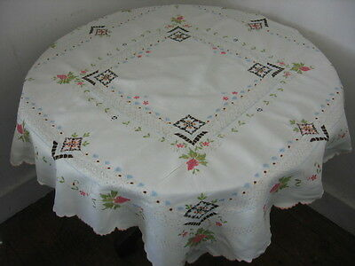 Vintage Linen Tablecloth Hand Worked Madeira Embroidery In Colours