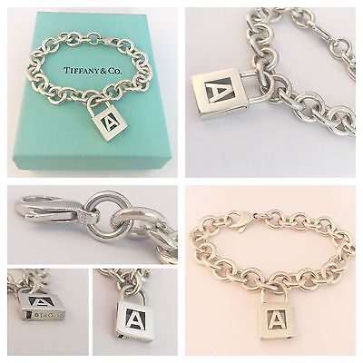 Beautiful Silver Tiffany & Co Brcelet With Letter  'a'  Padlock Charm