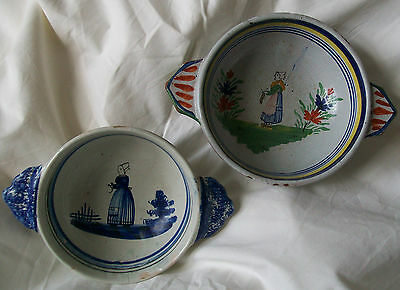 2 Vintage French Quimper Bowls Hand Painted