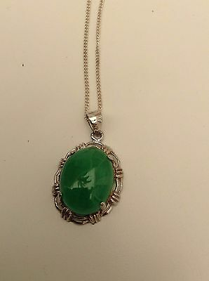 Silver Chrysophase Necklace Very Pretty
