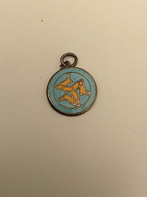 Silver Old Isle Of Man Enameled Pendant Small Excellent