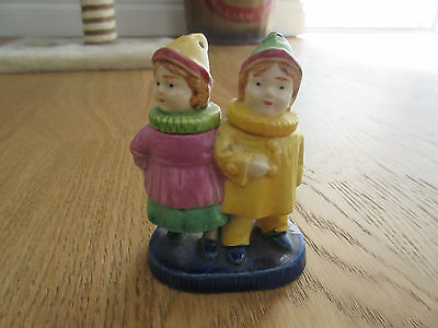 Antique  Salt & Pepper Shaker Boy Girl Long Necks Clown ruffle collar