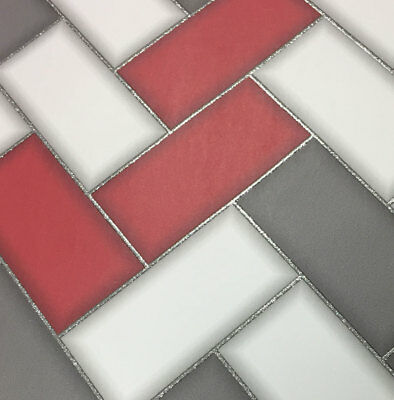 3D Chevron Tile Wallpaper Geometric Glitter Sparkle Red Grey Holden Decor