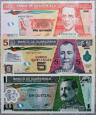 Set of 3 diff. Guatemala 1, 5 and 10 Quetzales Au-Unc. currency