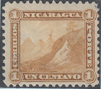 P09: Nicaragua - 1869-73 2nd volcano issue perforated 1c bistre original, mm/mh