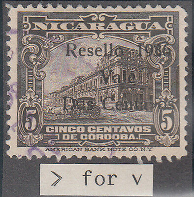"""P17: Nicaragua - 1936 SG870 Sc630 """">"""" for """"v"""" in """"Centavos"""", used  **UNLISTED**"""
