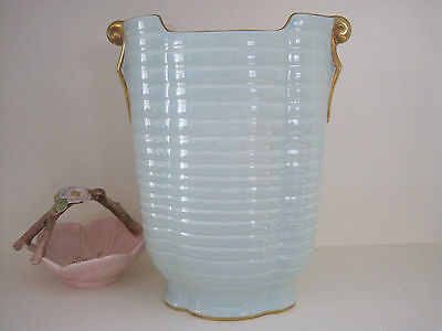 Beautiful Tall Art Deco Crown Devon Mint Green And Gilt Vase