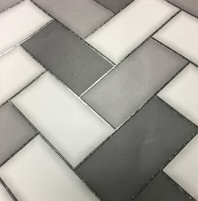 3D Chevron Tile Wallpaper Geometric Glitter Sparkle Charcoal Grey Holden Decor