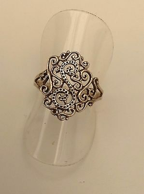 """Silver Patterned Ring """"s"""" Design"""