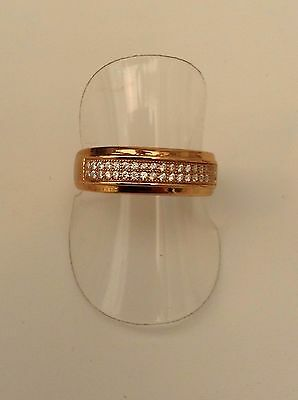 Gold On Silver Stone Set Ring Double Row