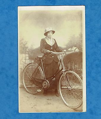 Old Rp Postcard,, Lady Cyclist With Old Bi-Cycle