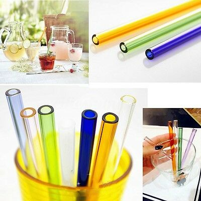 Reusable Colorful Straight Glass Tube Drinking Straws Wedding Birthday Party 8mm