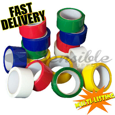 STRONG PARCEL PACKING COLOURED CARTON SEALING TAPES 50mm x 66M ALL COLOURS/QTY'S